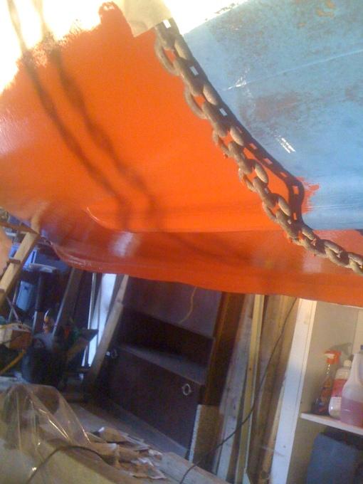 Suspension du canot pendu à son treuil